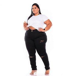 Calça Jeans Feminina Preta Rasgada 44 ao 60  3091
