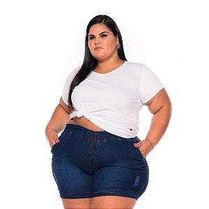 Short Jeans Jogger com Elástico na Cintura e Cordão  Feminino Plus Size  44 ao 60 3219