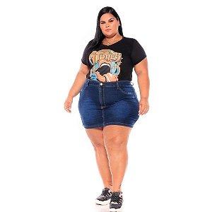 Mini Saia Jeans com Puido Nos Bolsos 44 ao 58 3214