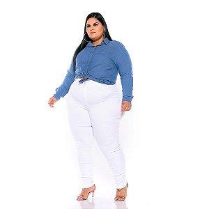 Calça Branca Sarja Stretch Plus Size 1452