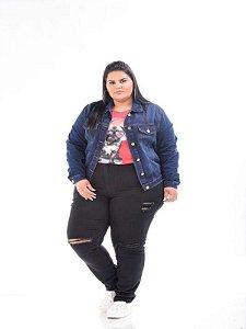 Jaqueta Jeans Feminina Stretch Plus Size 3145