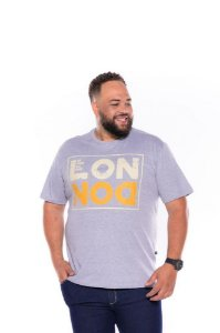 Camiseta Masculina Estampada London Plus Size Cinza Mescla Xp Ao G5