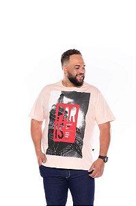 Camiseta Masculina Estampada París Plus Size  Rosa Xp Ao G5