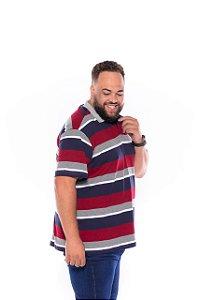 Camiseta Gola Polo Listrada Plus Size Masculino Cinza com Marinho  XM ao G5