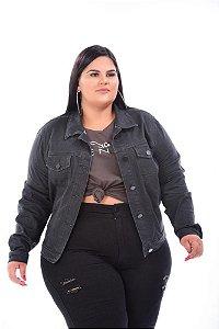 Jaqueta Jeans Feminina Preta Plus Size 3142