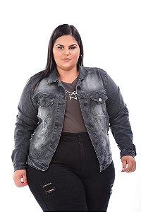 Jaqueta Jeans Feminina Rasgada Plus Size 3143