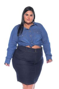 Camisa Jeans Stretch Feminina Plus Size 3166