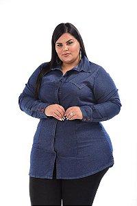 Camisa Maxxi Jeans Stretch  Alongada Feminina Plus Size do XP ao G5 3147