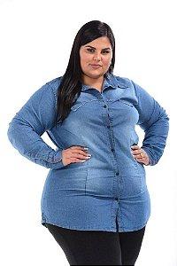 Camisa Maxxi Jeans Stretch  Alongada  Feminina Plus Size do XP ao G5 3146