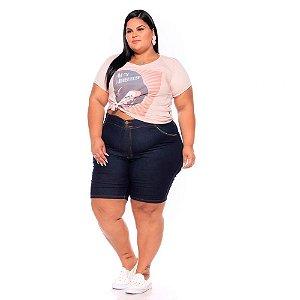 Bermuda Ciclista Jeans Stretch Detalhes Cotonete Bolsos Feminina Plus Size 62 ao 70 3207