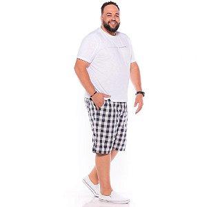 Bermuda Xadrez com Elástico Masculina Marinho Plus Size