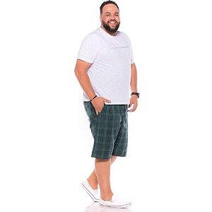 Bermuda Xadrez com Elástico Masculina Verde Plus Size