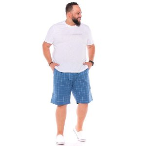 Bermuda Xadrez com Elástico Masculina Azul Plus Size