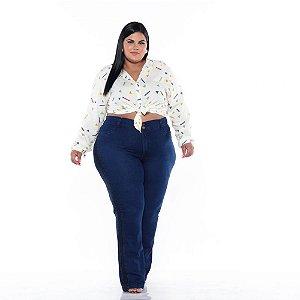 Calça Jeans Flare  C/ Faixa Lateral Feminina Plus Size 44 ao 66 3185