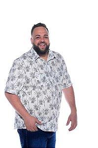 Camisa Masculina Estampada de Linho Cinza Plus Size  2033