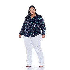 Camisa Feminina Viscose Estampada Seta Plus Size XP ao G5