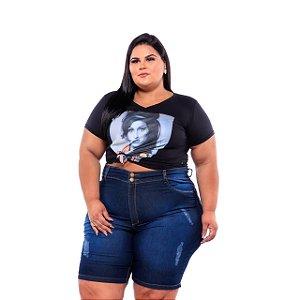 Bermuda Ciclista Jeans Feminina Com Rasgadinho Plus Size 62 ao 70  3198