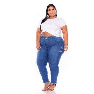 Calça Jeans Feminina Delavê Rasgo Barra Desfiada 44 ao 60 3231