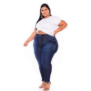 Calça Jeans Feminina Destroyer Bigode Rasgo Barra Desfiada Plus Size 62 ao 70 3232