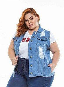 Colete Jeans Stretch  Feminino Plus Size Pequenos Defeitos