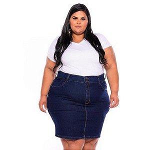 Saia Secretaria Jeans Stretch  Feminina  Plus Size Pequenos Defeitos 44 ao 70