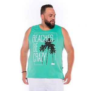 Camiseta Regata Beaches Verde Plus Size XP ao  G4