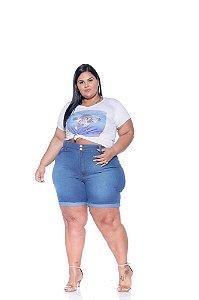 Bermuda Jeans Meia Coxa Feminina Plus Size 3173