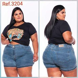 Short Jeans Stretch Curto Com Lavagem Manchada e Barra Desfeita 3204