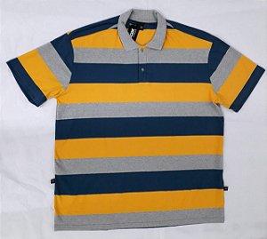 Camiseta Gola Polo Listrada Plus Size Masculino Cinza Com Amarelo  XP Ao G5
