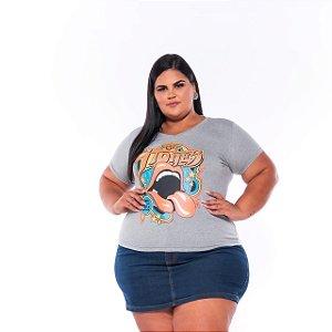 T-shirt Estampada Feminina Boca Stones Mescla Plus Size