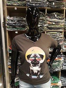 T-shirt Estampada Feminina Pug Cinza Plus  Size