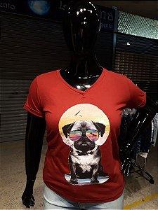 T-shirt Estampada Feminina Pug Vermelha Plus  Size