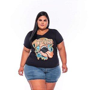 T-shirt Estampada Feminina Boca Stones Preta Plus Size