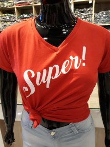 T-shirt Estampada Feminina Super Vermelha  Plus Size