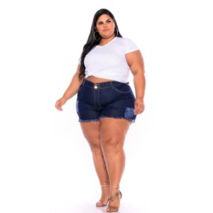 Short Jeans Escuro Destroyer Barra Desfiada Plus Size 44 Ao 60
