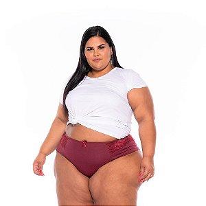 Calcinha Cotton Lycra Renda Vinho Plus Size XM Ao G5