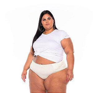 Calcinha Cotton Lycra Renda Marfim Plus Size XM Ao G5