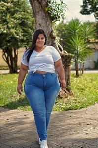 Calça Jeans Stretch Delavê Feminina Plus Size 3132