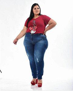 Calça Jeans Stretch Rasgada Feminina Plus Size 3152