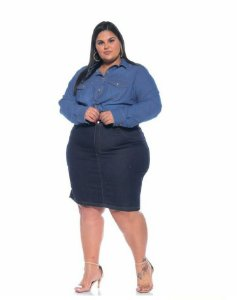 Saia Jeans Stretch Feminina Plus Size 3161
