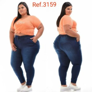 Calça Jogger  Jeans Stretch Escuro Plus Size Feminina 3159