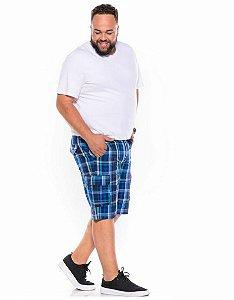 Bermuda Xadrez Sarja sem Elastano com Bolso Masculina Plus Size