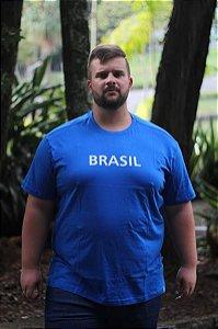 Camiseta Masculina100% Algodão Brasil Azul Plus Size