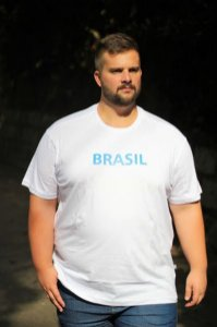 Camiseta Masculina100% Algodão Brasil Branco Plus Size
