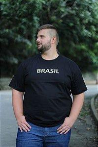 Camiseta Masculina100% Algodão Brasil Preto Plus Size