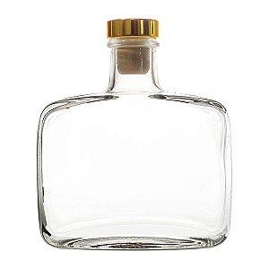 Vidro para Aromatizador 200 ml Com Rolha Luxo Dourada