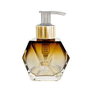 Frasco de Vidro para sabonete líquido 100 ml Sextavado âmbar Degradê