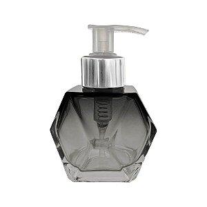 Frasco de Vidro para sabonete líquido 100 ml Sextavado Cinza