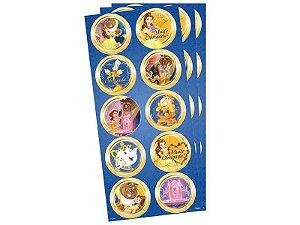 Adesivo para Tubete Lembrancinha A Bela e a Fera kit 3 cartelas