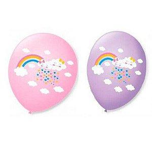 Balão Bexiga Decorada Chuva de Amor Rosa N 9 pct com 25 unid